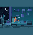 man texting at night flat vector image