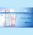 micellar water and scrub cosmetic bottles mockup vector image vector image