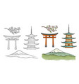 mountain fuji in japan vintage color vector image vector image