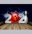 new year numbers 2021 with bowling ball and white vector image