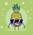 pineapple with sunglasses cute fruits cartoons vector image