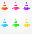 realistic traffic cones in in different colors vector image
