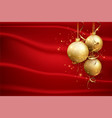 Red christmas background with gold balls elegant