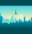 rocket launching on cityscape vector image vector image