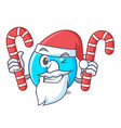 santa with candy number zero isolated on the vector image vector image