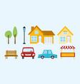 set home car tree bench vector image