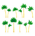 set tropical palm trees vector image vector image