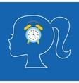silhouette head girl student clock vector image