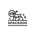 space dog astronaut monoline logo icon vector image