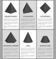 square pyramid tetrahedron octahedron hexagonal vector image vector image