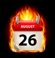 twenty-sixth august in calendar burning icon on vector image vector image
