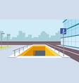 underground pedestrian crossing perspective vector image vector image
