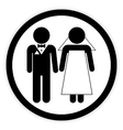 Wedding couple button vector image vector image