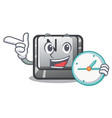 with clock button n isolated cartoon vector image vector image