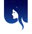 woman face with starry background hair vector image