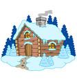 wooden cottage in winter landscape vector image