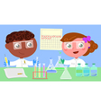 Two young researchers vector image