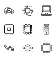 9 tech icons vector image vector image