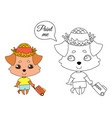 a dog with hanging ears in summer clothes a straw vector image