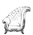 baroque armchair royal style decotations vector image vector image