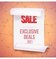Big Sale Paper Ribbon Banner on Wireframe vector image vector image
