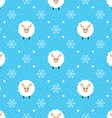 Blue seamless pattern with cute sheep and vector image vector image