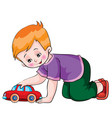 boy plays with a toy car cartoon isolated object vector image vector image
