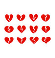 broken hearts icons collection heart crack vector image vector image