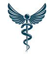 caduceus symbol made using bird wings and vector image vector image
