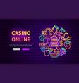 casino online neon banner design vector image