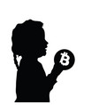 child silhouette with cryptocurrency icon vector image vector image