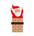 christmas santa claus in the chimney card vector image vector image
