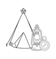 compass guide with kerosene lamp and tent vector image vector image