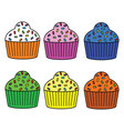 Cute Muffin Set vector image vector image