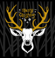 deer head white silhouette vector image