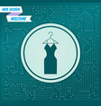 dress icon on a green background with arrows in vector image