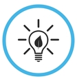 Eco Light Bulb Flat Rounded Icon vector image