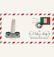 envelope or postcard with pisa tower vector image vector image