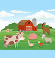 farm animals village animal farms cows red barn vector image