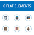 flat icons trash basket calculate armchair and vector image vector image