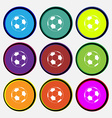 football icon sign Nine multi colored round vector image vector image