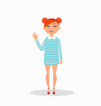 girl in a dress is laughing and waving cartoon vector image