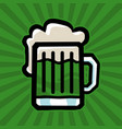 green irish beer mug icon vector image vector image