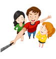 Group of people taking selfie with stick vector image vector image