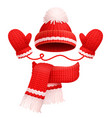 hat and scarf with mittens vector image vector image