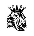 lion head with crown monochrome vector image vector image