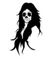 long hair skull queen ugly face like satan vector image vector image
