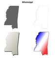 Mississippi outline map set vector image vector image