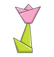 origami tulip icon cartoon style vector image vector image