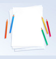 pencils on a4 paper vector image vector image